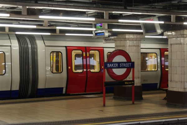 Underground train at Baker Street, London